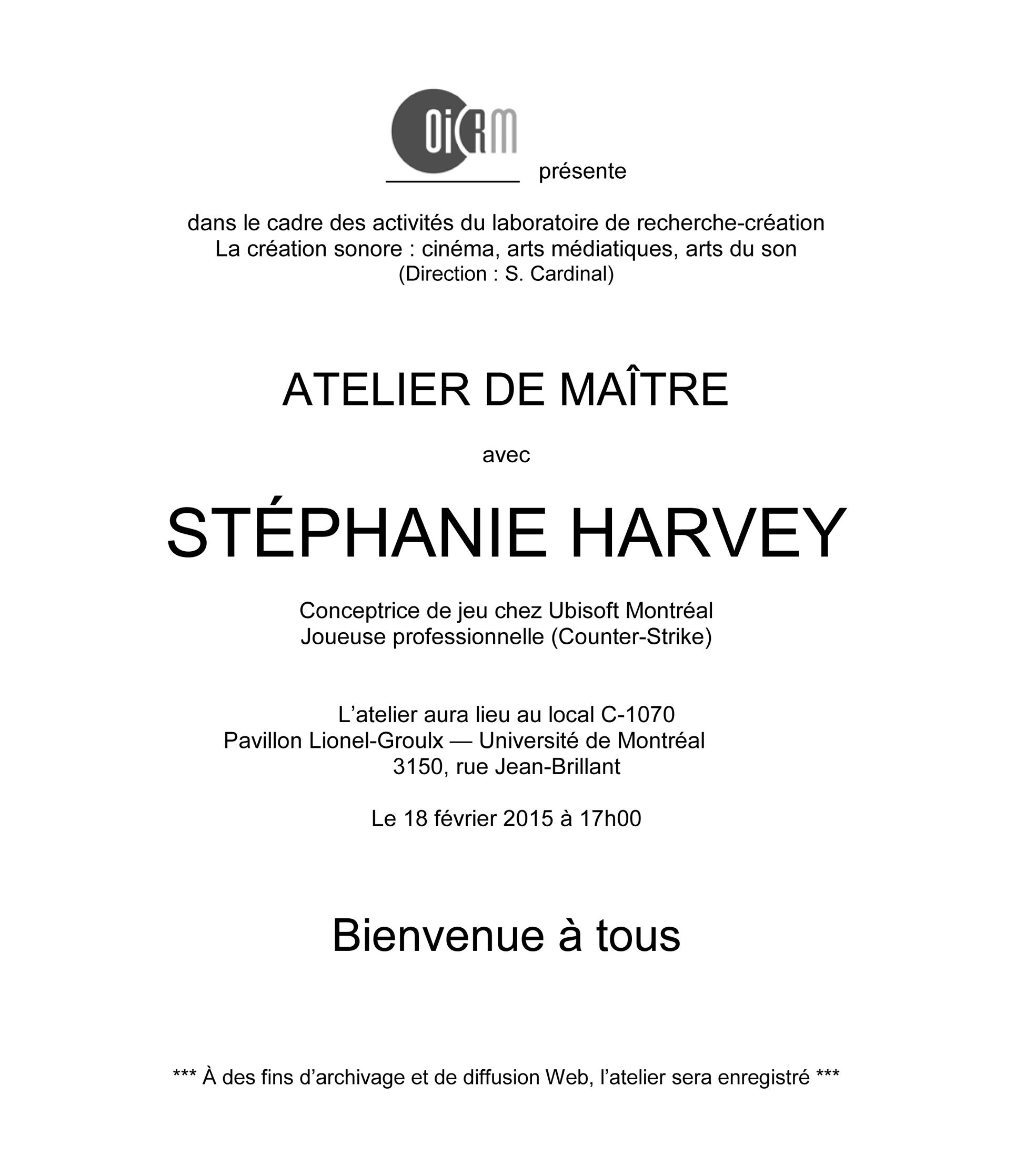 Rencontre Stéphanie Harvey